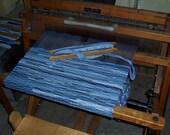Denim rag rug, blue, handwoven 4 ft X 24 in
