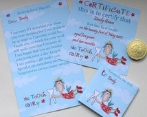 Tooth Fairy Kit- Certificate Letter Envelope- Flying Fairy- Printable- Editable- you edit- you print- INSTANT DOWNLOAD