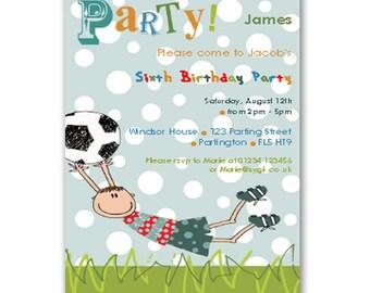 Football Printable DIY Party Invitation - Editable - INSTANT DOWNLOAD