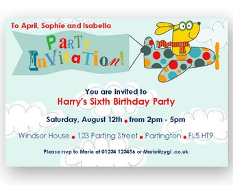 Flying Dog Printable DIY Party Invitation - You edit - You print - INSTANT DOWNLOAD