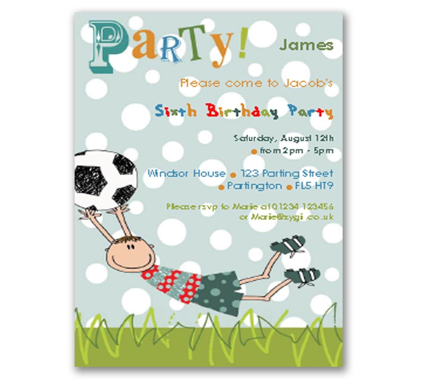 Football Printable DIY Party Invitation Editable INSTANT