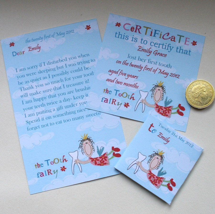 Tooth fairy kit certificate letter envelope flying fairy zoom xflitez Choice Image