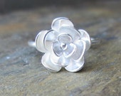 Sterling Silver Flower Ring  Water Lily Handmade Size: 4,5,6,7,8,9