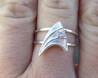 CUSTOM ORDER ChrisGoresLovespray Sterling Silver Engagement Ring with White Sapphire Star Trek Insignia Inspired  Made To Order