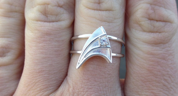 custom order chrisgoreslovespray sterling silver engagement ring with white sapphire star trek insignia inspired made to - Star Trek Wedding Ring