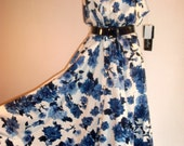 80s retro swing dress large blue floral cotton print sz16  by K Studio NWT cotton fabric