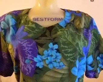 Tropical print Floral Blue multi-coloredl skort set by Cristin Stevens M/L