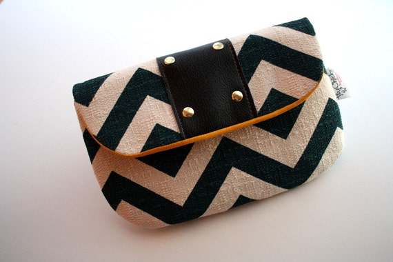 Navy Chevron and Leather Clutch