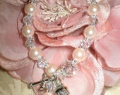 Bogo Sale Crystal And  Light Baby Pink Glass Pearl First Holy Communion Rosary Bracelet For Girl