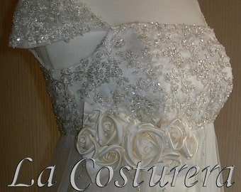 Wedding Gown - Handmade Beaded Lace Embellished Empire Vintage Reception