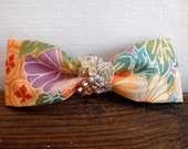 Lovely Japanese Textile Bow with beading trip - Hair Clip