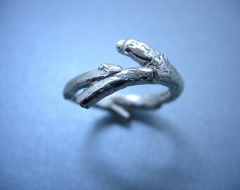 Unisex solid silver Twig ring