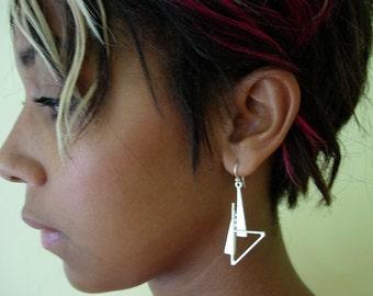 silver art deco style earrings