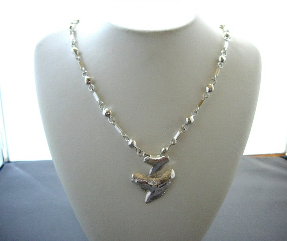 Silver tiger shark tooth and chain