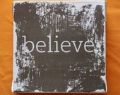 Subway Art Vintage Wall Hanging Canvas - BELIEVE, Inspirational Art