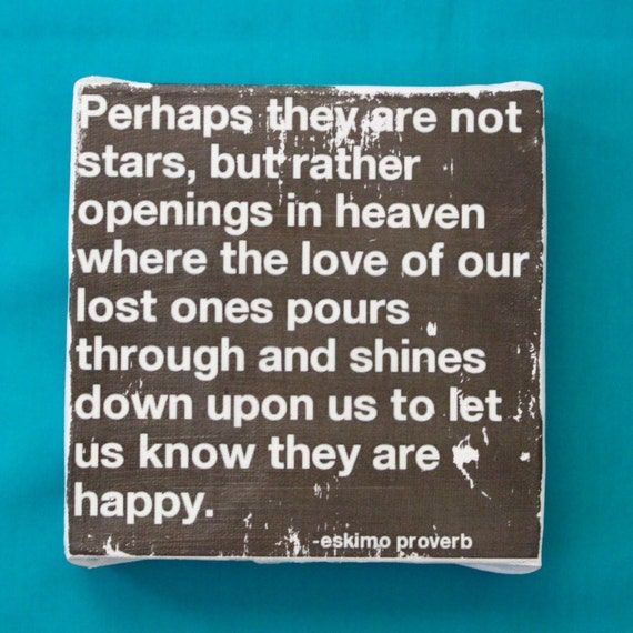 """Subway Art Wall Hanging Canvas 6"""" x 6"""" - Perhaps they are not stars, but rather openings in heaven"""