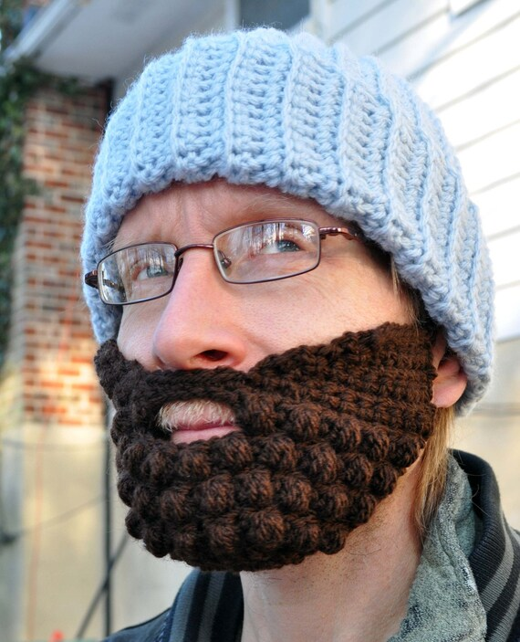 Beard for a Beanie Hat, Adult Medium, Brown, Wool Blend