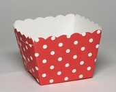 SALE: 10 Red/White Polka Dots Square Baking Cups