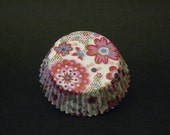 50 Pink Japanese Floral Smaller Cupcake Liners - LIMITED QUANTITIES