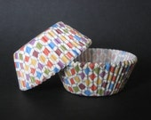 50 Colorful Checked Cupcake Liners - LIMITED QUANTITIES