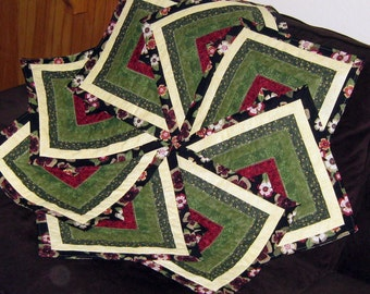 Elegant Strata Star Quilted Cotton Bedcover, Tablecloth, Table Topper or Fabric Wall Art
