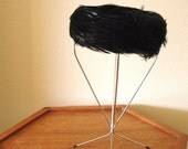 Vintage 50s Black feathered Pill Box