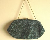 Vintage 1970s emerald glass beaded purse