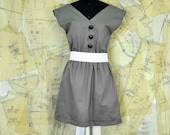 Gray Canvas Dress with Leather Buttons and Long White Bow size medium