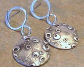 Circular Textured Earring On Circular Earwire Posts