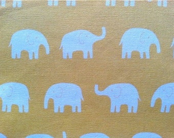 Elephants Fabric in Yellow - Tip Top Canvas by Daiwabo Fabric - 1 Yard