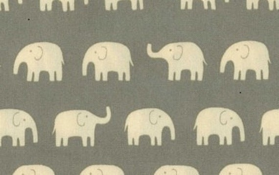 Elephants Fabric in Gray Cotton Canvas Japanese Imported Fabric Yardage - 1 yard