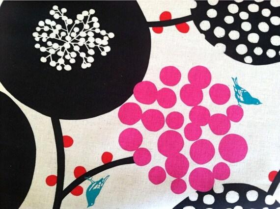 NEW Echino Fabric Bird Fabric in Black / Pink Modern Decorator Fabric  - 1 Yard