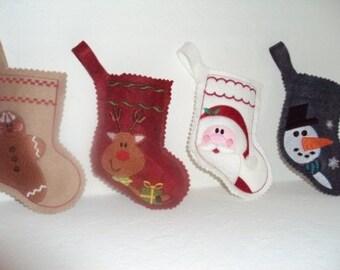 Set of 4 Embroidered Christmas stockings