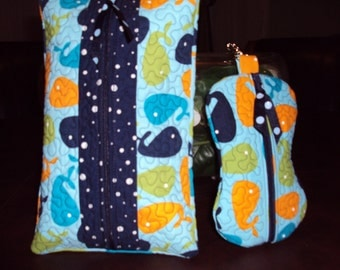 Quilted Baby Wipe & Paci Case Set