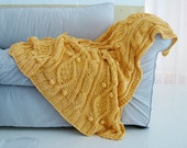 chunky sunshine yellow cotton cable knit throw