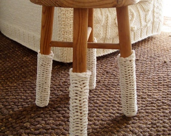 KNITTING PATTERN for chunky knit cream leg warmers for chairs