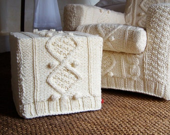 cream aran chunky knitted ottoman slip cover (to fit Ikea base)