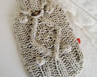 KNITTING PATTERN for chunky cable knit hot water bottle cover