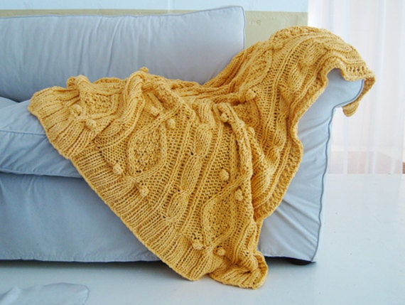 Items similar to chunky sunshine yellow cotton cable knit throw on Etsy
