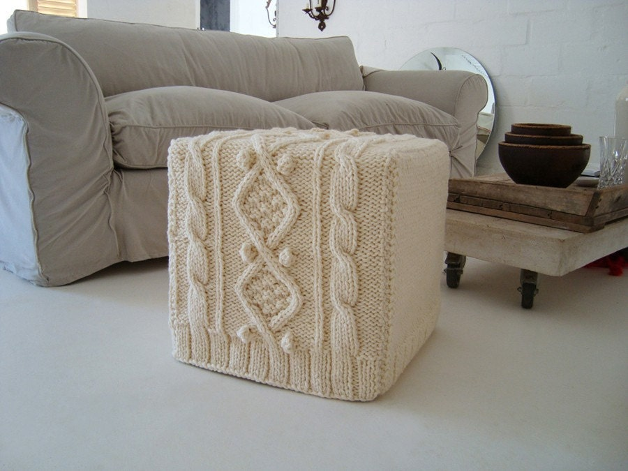 Cream Chunky Knitted Ottoman Slip Cover