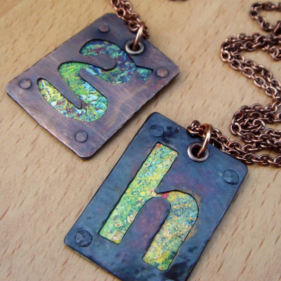 Custom letter necklace - copper metal smithing- a b c d e f g h i j k l m n o p q r s t u v w x y z