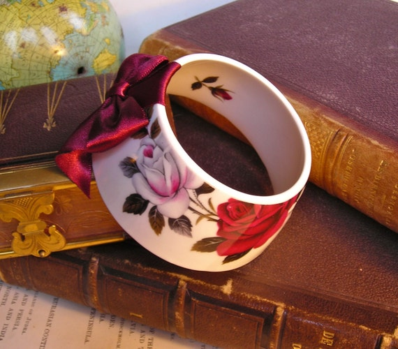 StayGoldMaryRose - Stunning deep ruby red and white rose cluster pattern teacup bracelet with dark ruby red hand made satin bow.