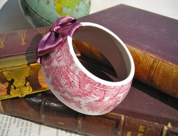 Reserved - Delightful Strawberry pink willow country scene pattern tea cup bracelet with light frosted burgundy hand made satin bow.