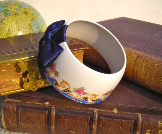 SALE - StayGoldMaryRose - Pretty pink rose, gold swirl and navy wave frame pattern tea cup bracelet with deep navy blue hand made satin bow.