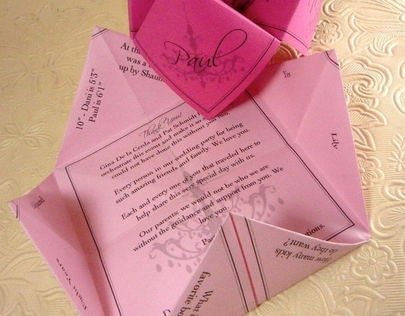 2 Sets of Questions - Wedding Cootie Catcher (PDF - PRINTABLE)