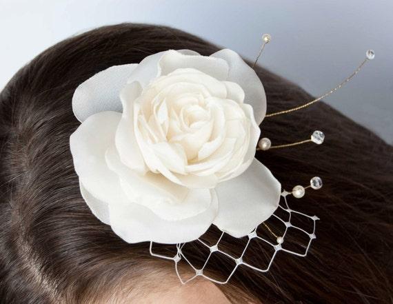 Wedding Hair piece, Rose Hair Clip, Bridal Hair Flower, Wedding Hair Flower Fascinator