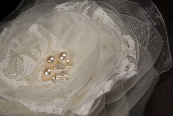 Ivory lace and tulle flower hair clip  -Bridal wedding accessory  - Fower  brooch - lace, swarovski rhinestones, glass beads, pearls