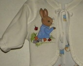 Baby-Toddler Peter Rabbit Fleece Jacket, Hand Painted, Made to Order 3 month through 5