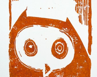 brown owl - linocut, limited edition