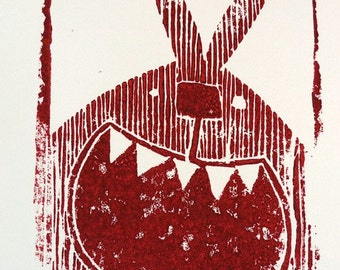red bunny - linocut, limited edition